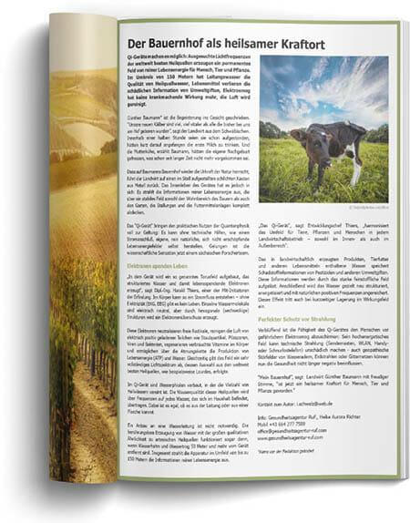 Pressebeitrag von Auria-bio zum Strahlenschutz für Tiere durch die Qi-Geräte