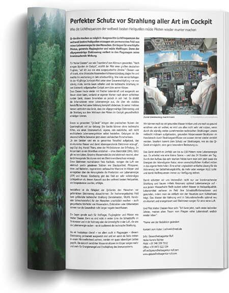 Pressebeitrag vom AERO-Magazin zum Schutz vor Strahlung im Flugzeug dank der Qi-Geräte